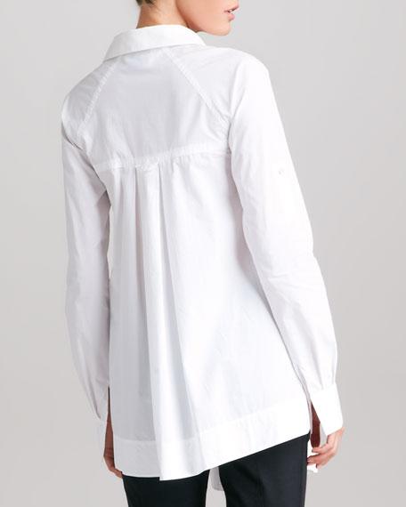 Pleated Poplin Boyfriend Shirt