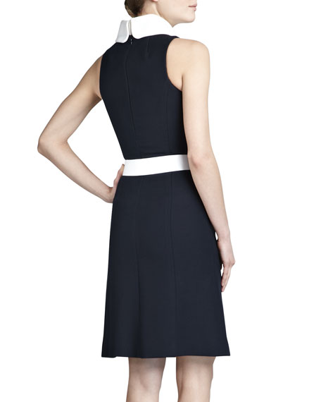 Contrast-Collar Belted Dress