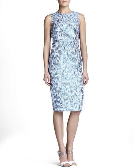 Origami-Stripe Silk Dress