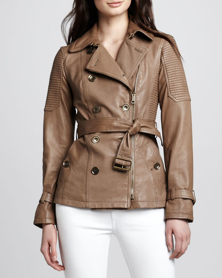 Moto Leather Trench Jacket