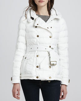 Burberry Brit Belted Puffer Trench with Hood