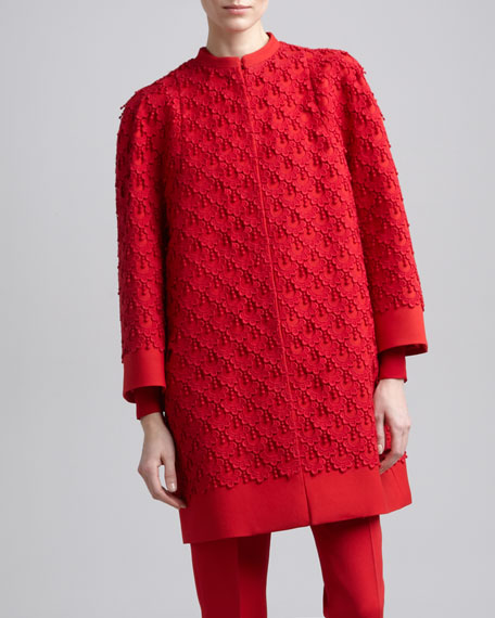 Guipure Lace Coat, Rouge