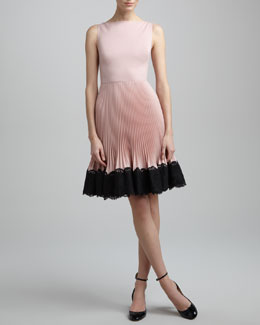 Valentino Lace-Trim Plisse Dress, Rose