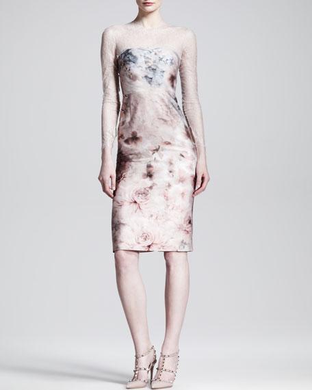 Fluid Garden Floral-Print Lace-Top Dress
