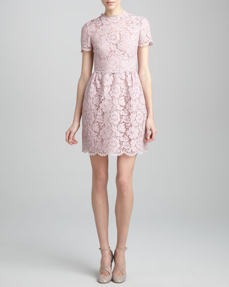 Short-Sleeve Floral Lace Dress, Rosa