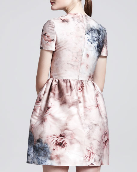 Floral-Print Mikado Short-Sleeve Dress