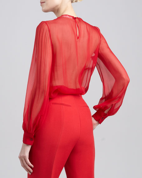 Sheer Georgette Blouse, Rosso