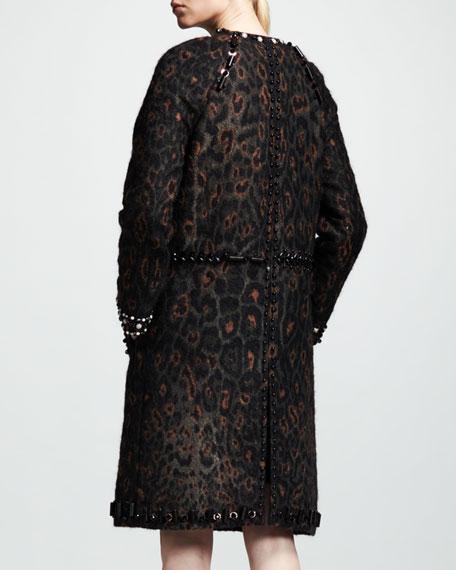 Embellished Leopard-Print Coat