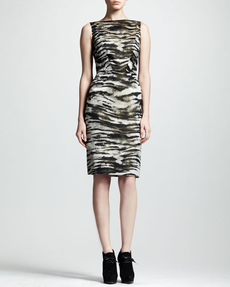 Zebra-Jacquard Sheath Dress