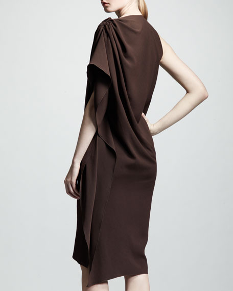 One-Sleeve Draped Crepe Dress