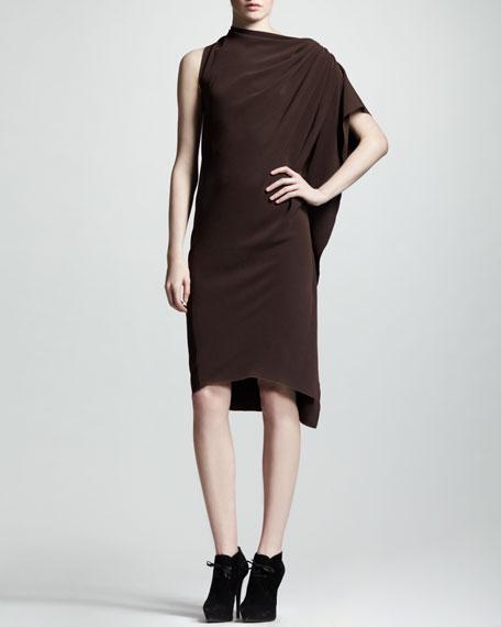 One-Sleeve Draped Crepe Dress