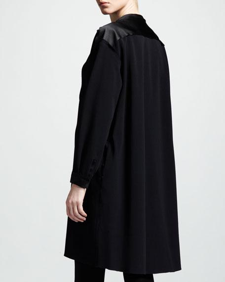 Satin-Bib Belted Dress