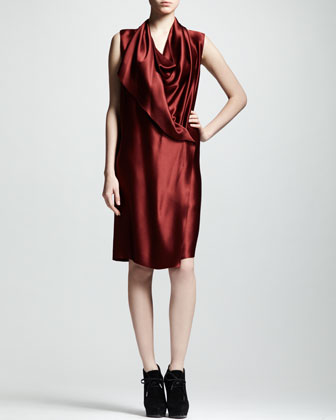 Techno-Satin Wrap Dress