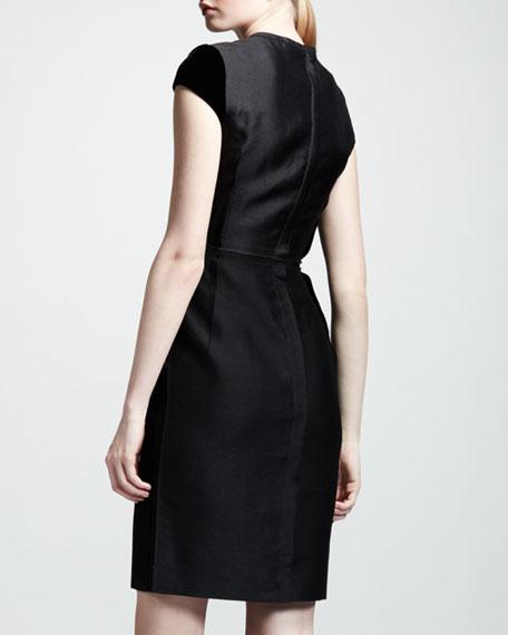 Velvet-Sleeve Sheath Dress