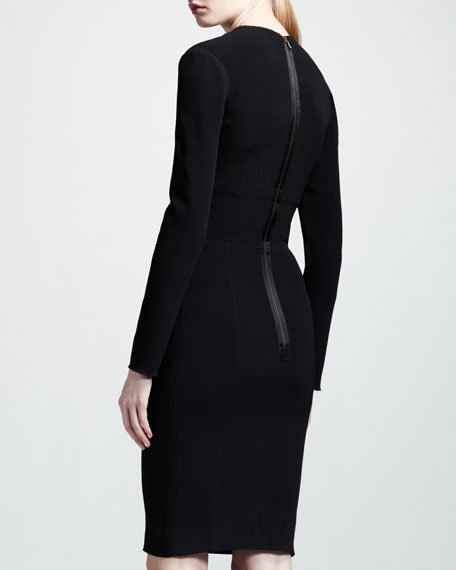 Long-Sleeve V-Neck Dress
