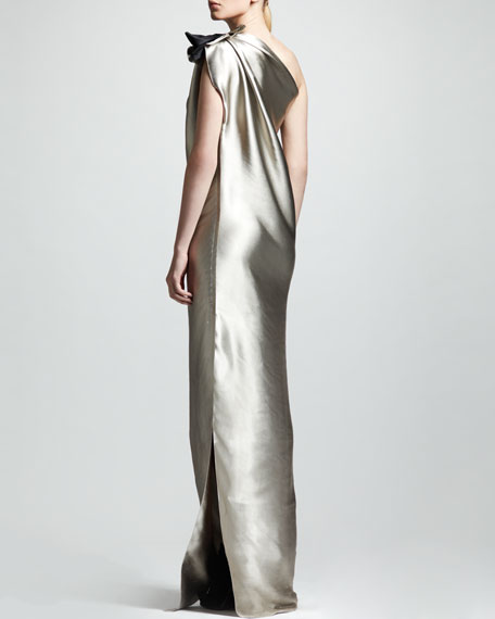 One-Shoulder Duchess Satin Column Gown