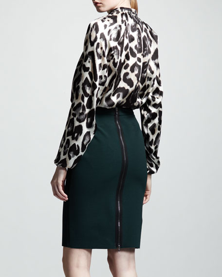 High-Waist Back-Zip Pencil Skirt, Vert Anglais