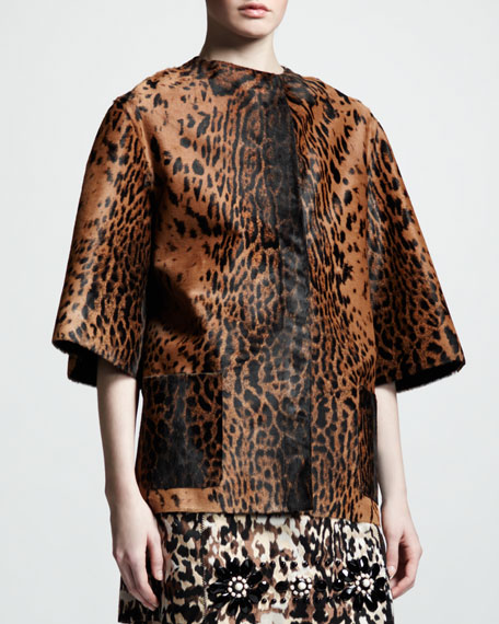 Leopard-Print Calf-Hair Coat