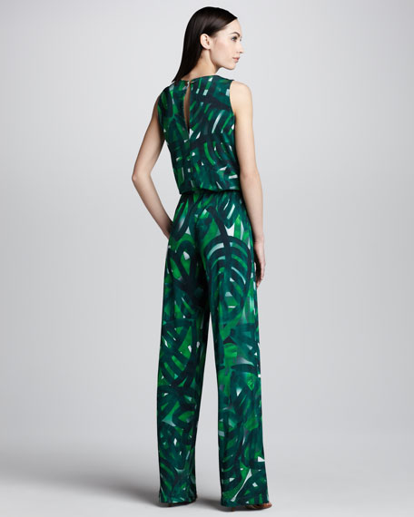 Palm-Print Jersey Jumpsuit, Green