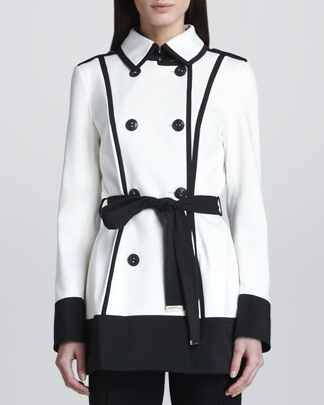Short Tech Trench Coat, White/Black