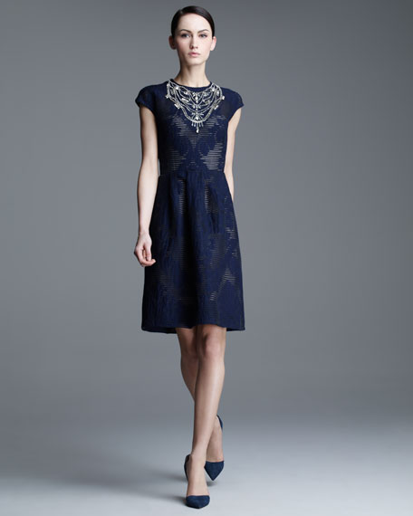 Crystal-Neck Fil Coupe Dress