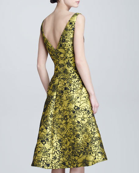 Illustrated Metallic Jacquard Dress