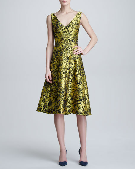 Illustrated Metallic Jacquard Dress