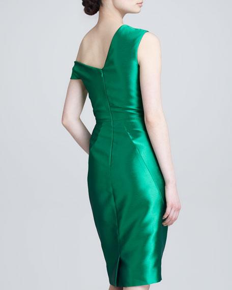 Asymmetric Folded Satin Dress