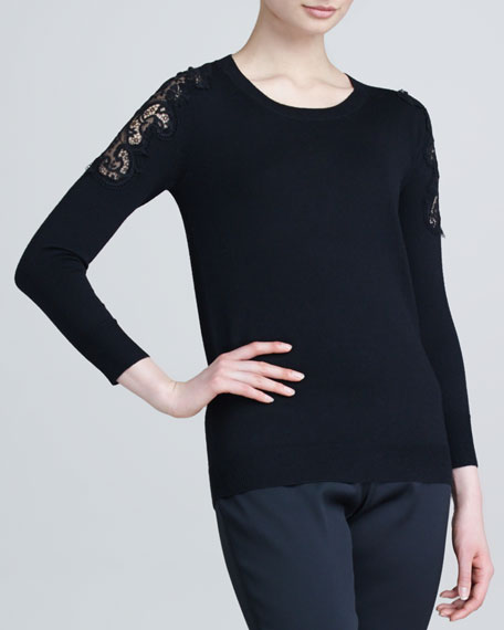 Lace-Applique Crewneck Sweater