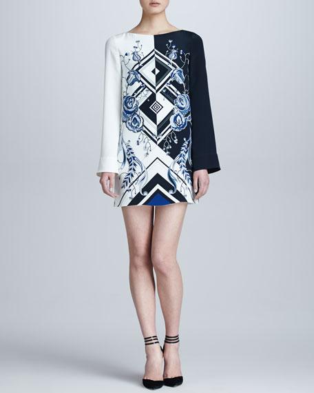 Jazz-Print Silk Dress