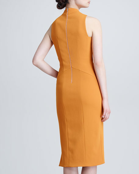 Sleeveless Crepe Dress, Tangerine