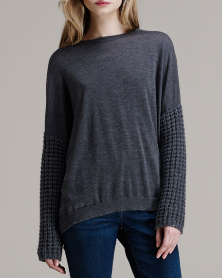 Paillette Waffle Knit-Sleeve Pullover