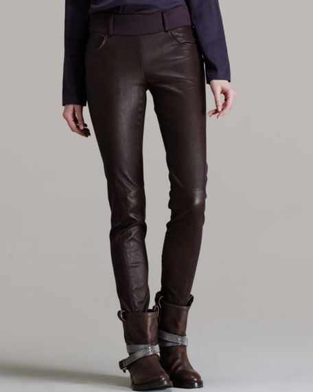 Leather-Front Wool Flannel Pants