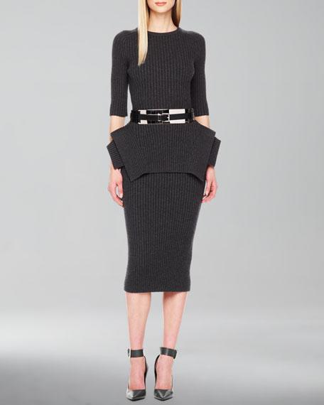 Ribbed Pencil Skirt