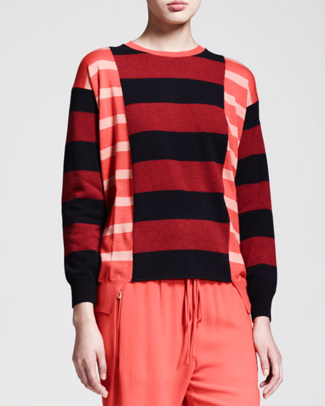 Block-Stripe Tunic Sweater