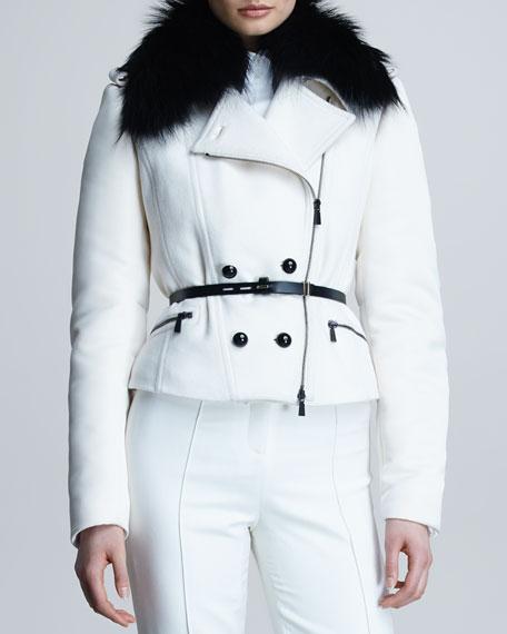 Fox Fur-Trim Motorcycle Coat, Bone/Black