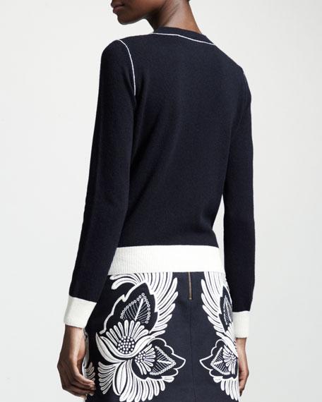Contrast-Trim Cashmere Crewneck Sweater
