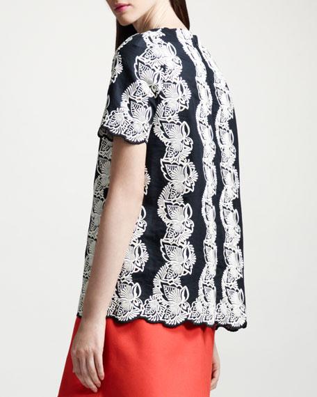 Lace-Stripe A-Line Top