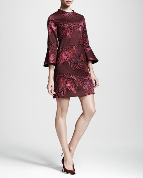 Trumpet-Sleeve Flower Jacquard Dress