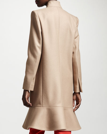 Flounce-Hem One-Button Coat, Camel