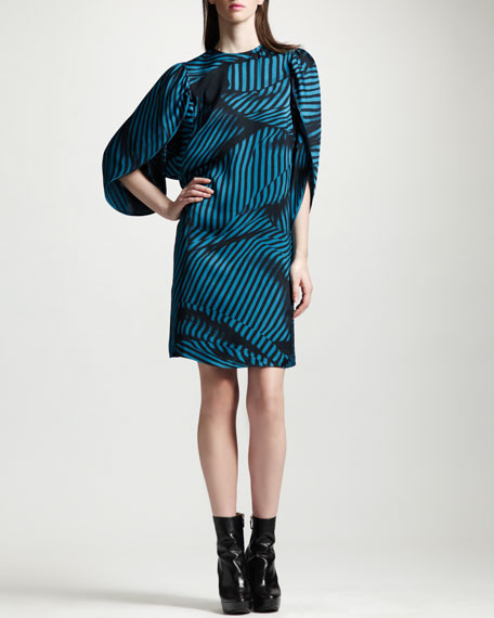 Striped Tulip-Sleeve Silk Dress