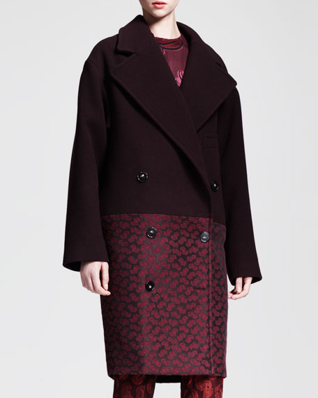 Boxy Double-Breasted Bi-Fabric Coat