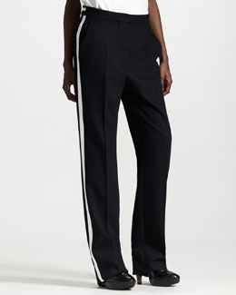 Stella McCartney Wide-Leg Contrast-Stripe Tuxedo Pants