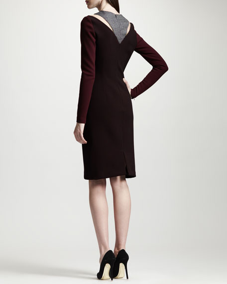 Tweed Panel Two-Tone Knit Dress
