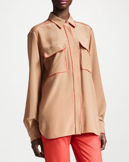Stella McCartney Piped Silk Crepe de Chine Blouse, Military Olive Green