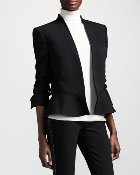 Shawl-Collar Peplum Jacket