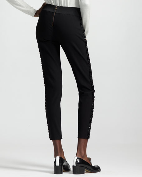 Bead-Stripe Cropped Skinny Pants