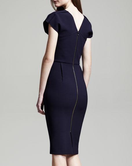Afyon Stretch Wool Sheath Dress