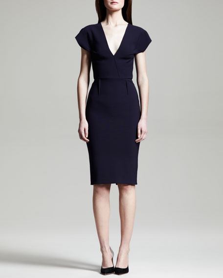 Afyon Stretch Wool Sheath Dress