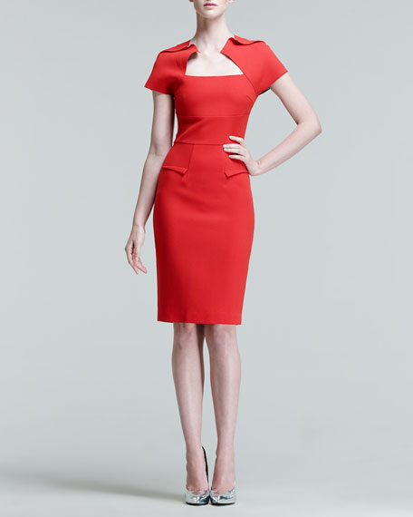 Myrtha Folded Sheath Dress, Red